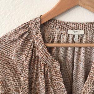 Joie Fall Leaf Print Silk Top, L 🍂